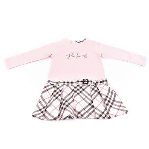 BURBERRY Pink, Nova Check & Logo Long Sleeve Dress